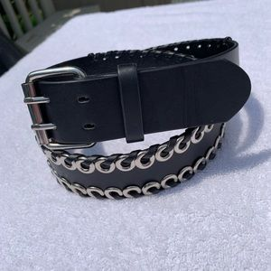 Belt Faux Leather Black Silver Two Row Circle